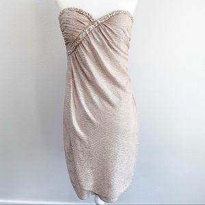 Hailey Logan Adrianna Papell Gold strapless dress